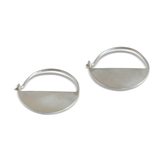 Ting Goods sustainably made half moon earrings silver