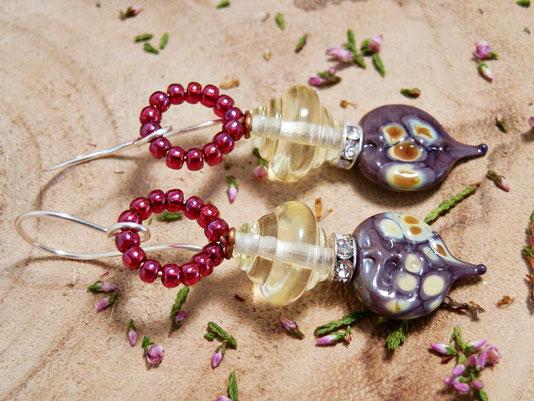 Purple fairy earrings, Belladonna earrings, yellow fairy earrings, botanical inspired, forrest earrings, nature inspired, fantasy, cosplay