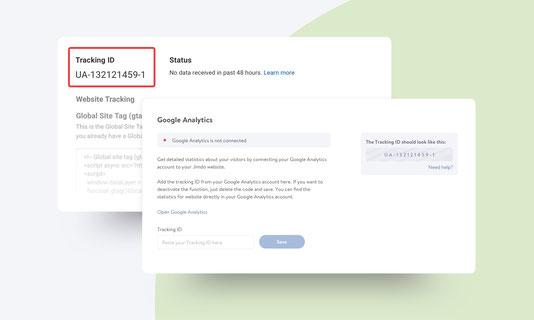 Introduce el ID de seguimiento de Google Analytics en tu página Jimdo.