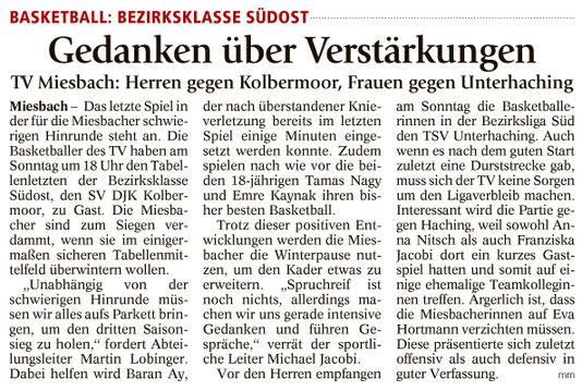 Artikel im Miesbacher Merkur am 16.12.2017 - Zum Vergrößern klicken