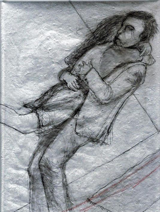 mine de plomb, encre de Chine et pastel rouge sur papier artisanal argenté, 30x25 cm