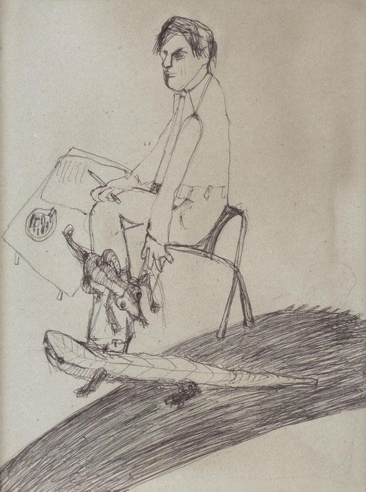 mine de plomb et stylo noir sur papier, 35x24 cm
