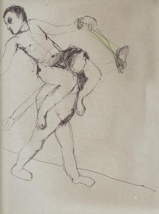 mine de plomb, crayon vert et stylo noir sur papier, 35x24 cm (un couple)