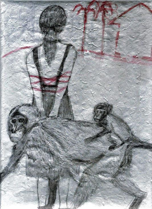 mine de plomb, encres de Chine noire et rouge sur papier argenté, 30x25 cm
