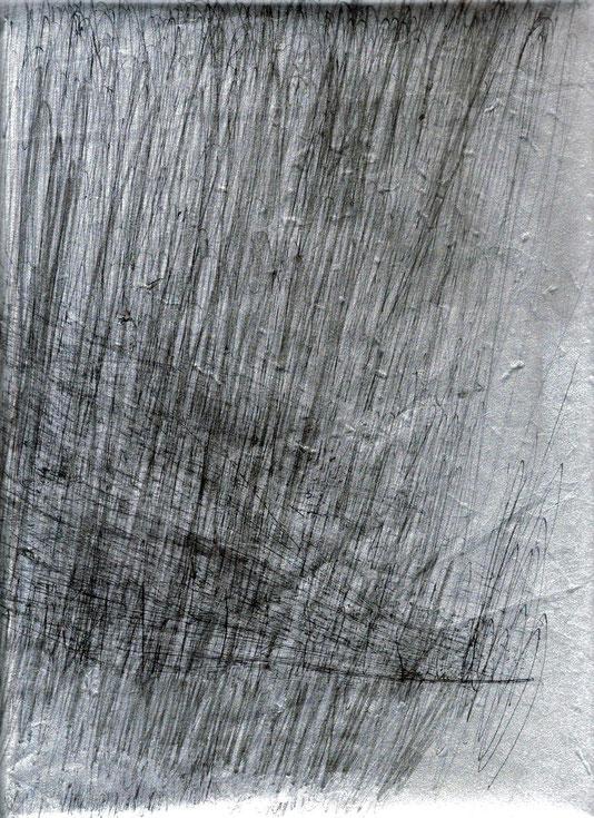 encre de Chine sur papier argenté, 30x25 cm (dessin VI pour Hyengène)