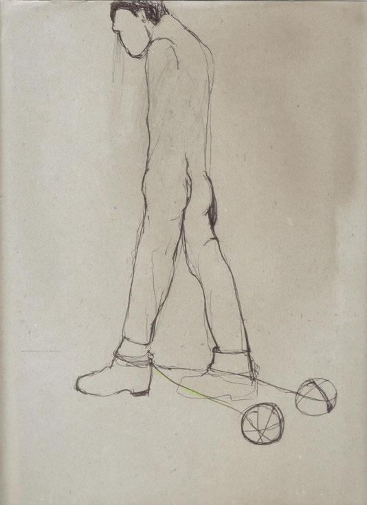 mine de plomb, stylo noir et crayon vert sur papier, 35x24 cm (dessin IV pour Hyengène)