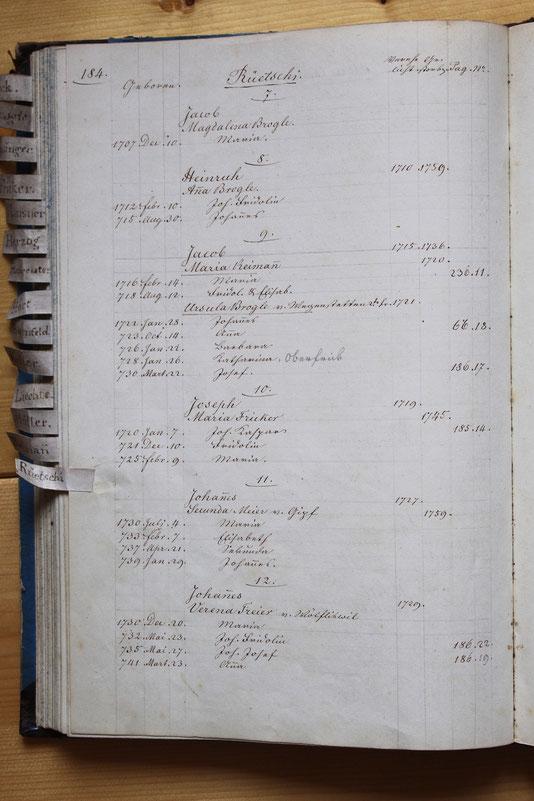 Original-Familienbuch von 1846: Seite 184