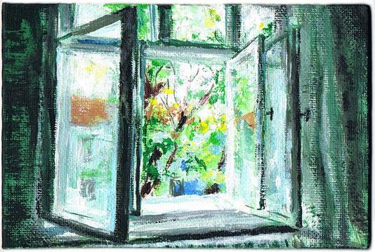 Das offene Fenster . Acryl auf Leinwand .  VERKAUFT
