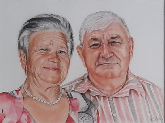 Eltern,  Buntstift  50 x 40 cm,  2021 , Auftragsarbeit