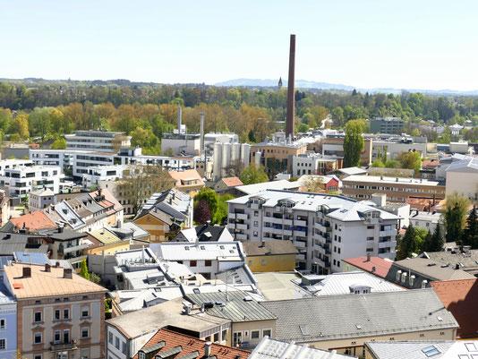 Rosenheim von oben St. Nikolauskirche heute