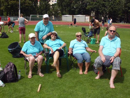 Das Kubb-EM-Team 2016: v.l. Karola, Helmut, Luzie, Steffi, Fred