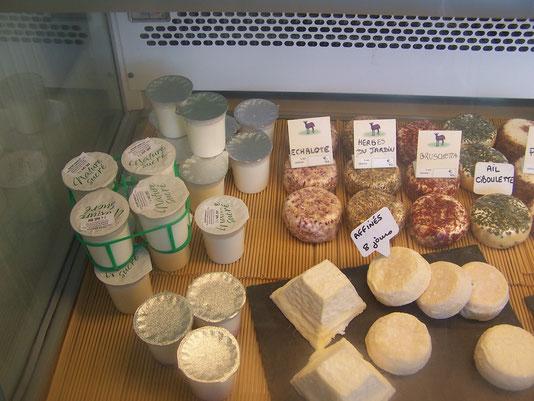 yaourts et fromages de chèvre du magasin à la ferme du Purdeau, Thouarsais-Bouildroux