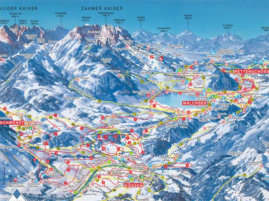 Karte mit den umliegenden Skigebieten im Kaiserwinkl
