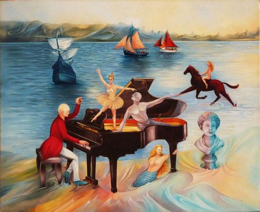 """""""L'Animation des Dunes"""". 61 x 50 cm. Huile sur toile."""