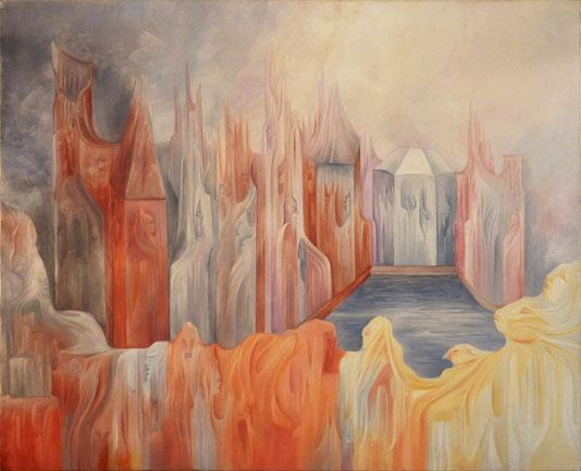 """""""Les Cathédrales"""". 100 x 81 cm. huile sur toile."""