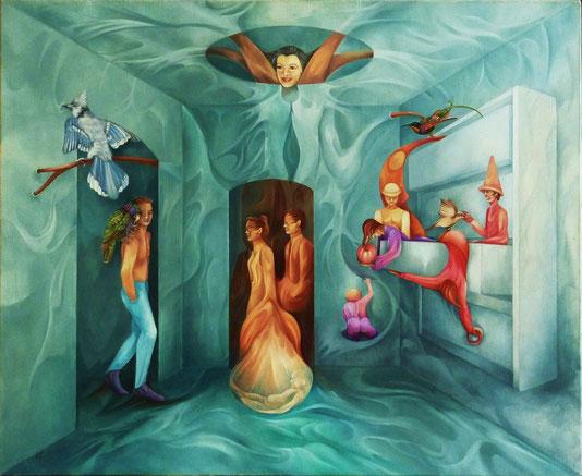 """""""L""""Arbre de Vie"""". 61 x 50 cm. Huile sur toile."""