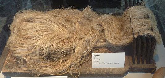 Peigne à lin. Dans le lin, tout se consomme : la fibre, la graine, le bois, la poussière... La totalité de la plante est utile. Le lin était déjà fabriqué dans l'antique Egypte. La Bible cite 85 fois le lin.