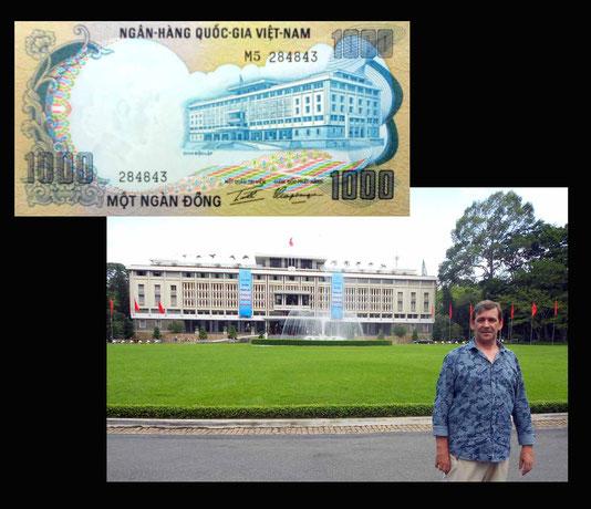 1000 dong Vietnam del Sur desde el Palacio de la Reunificacion en Saigon