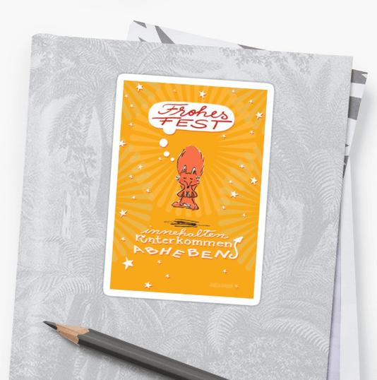 Schwebefuchs - Fuchs Weihnachten - gelb - Sticker bei Redbubble   - Illustration und Spruch Judith Ganter - Illustriertes Kopfkino für Alltagsoptimisten