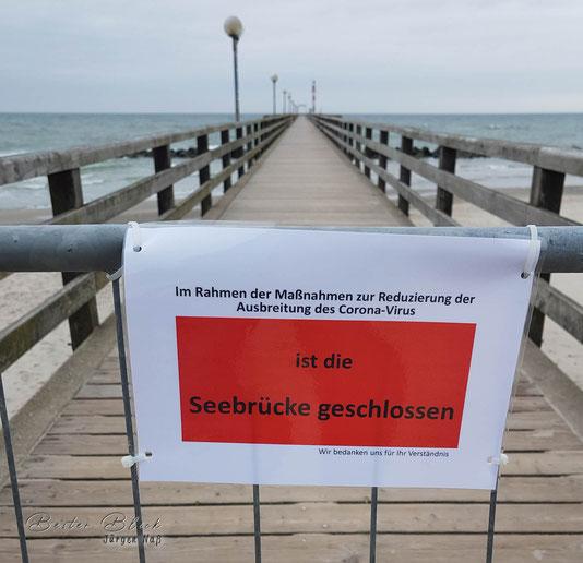 Seebrücke Wustrow wegen Corona geschlossen
