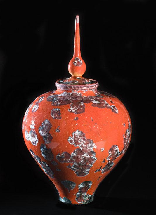 Vase/boite rouge corail