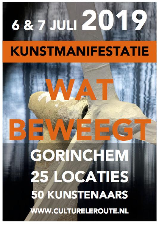 Op 6 & 7 juli 2019 organiseert de Culturele Route Gorinchem het kunstfestival 'Wat Beweegt' in de historische binnenstad. Mijn werk is te zien in Krommenhoek 10, meer info volgt. Klik op de afbeelding voor meer informatie over het kunstfestival.