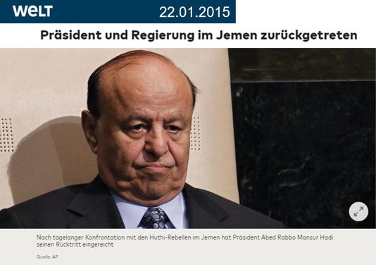 WELT - 22.01.2015: Jemen - Präsident Hadi und Regierung im Jemen zurückgetreten