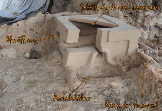 In Situ rekonstruierter Sakralofen in einer Hausecke