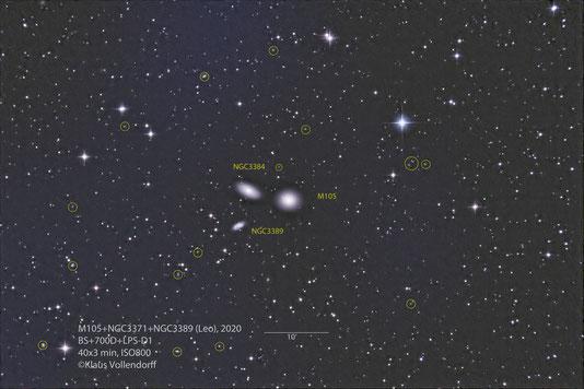 "M105, NGC3384 und NGC 3389 im Sternbild Leo (Löwe) mit 8"" f3.6, CANON 700D modifiziert+LPS-D1"