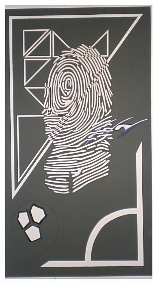 Fingerabdruck-Porträt , Erraten Sie den Porträtierten, Künstler Michael Franck, Schminke auf Leinwand, 200 x 110 cm