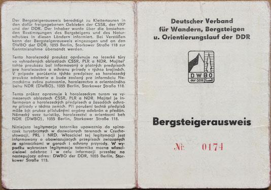 Bergsteigerausweis der DDR