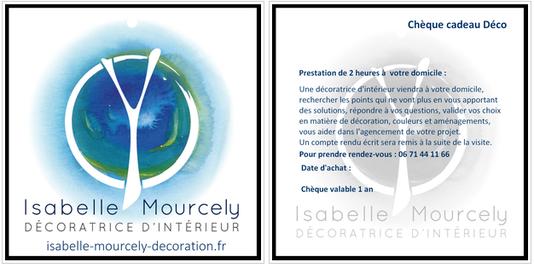 chèque cadeau Isabelle Mourcely, décoratrice UFDI Tours 37000 Chinon 37500