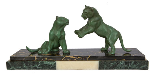 "Sculpture, ""Gambling Panther"", France 1920-1930, Art Déco Wiesbaden Regine Schmitz-Avila"