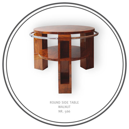 Round Side Table Walnut, Art Déco Wiesbaden Regine Schmitz-Avila