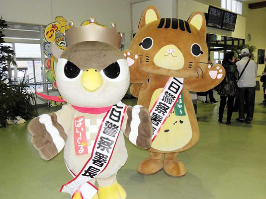 1日署長を務めた(右から)ピカリャ~、ぱいーぐる=石垣港離島ターミナル