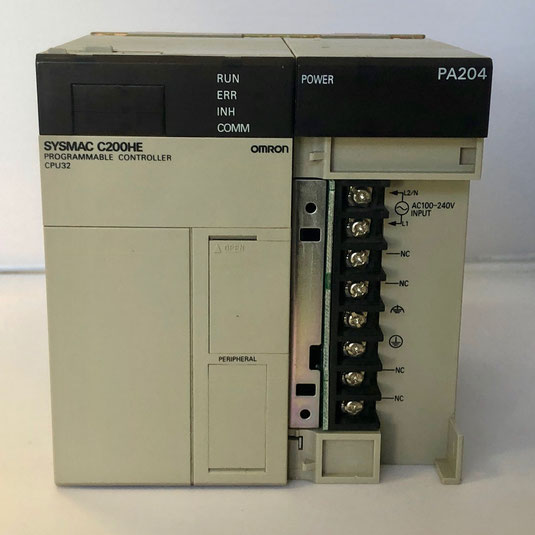 The OMRON programmable controller CPU32, Type: SYSMAC C200HE PA204 C200HW-AB001