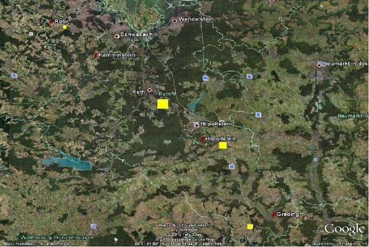 Photovoltaik auf den gelben Flächen würde den Energiebedarf der angrenzenden Orte decken.