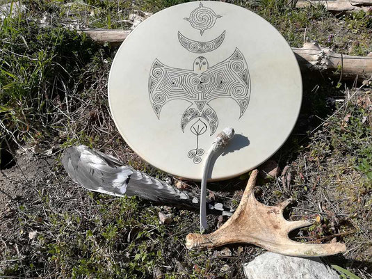 Trommel, Flügel, Elchgeweih, Schamanenwerkzeug