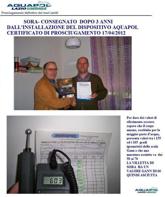 SORA CONSEGNATO CERTIFICATO DI PROSCIUGAMENTO APRILE 2012