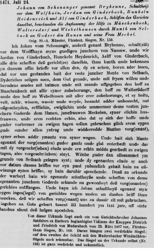 Hof zu Müschenbach ( Mussinbach )