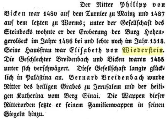 Elisabeth von Wiederstein, Frau von Ritter Philipp von Bicken