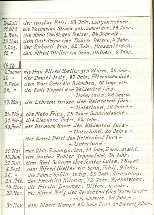 Sterbebuch Wiederstein ab 1910