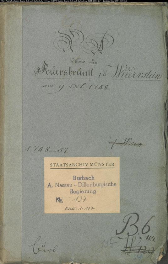Der grosse Brand in Wiederstein von 1748
