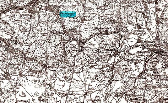 Wiederstein auf einer Karte aus der Zeit vor dem Zweiten Weltkrieg.