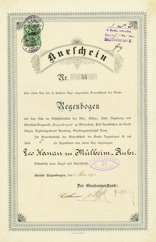 Kuxschein der Grube Regenbogen                     (Quelle : www.google.de)