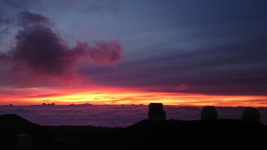 マウナケア山頂からのサンセット