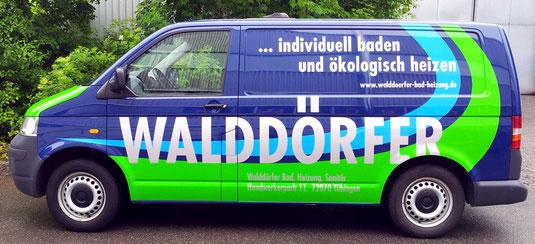 Fahrzeugbeschriftung Walddörfer Sanitär Tübingen