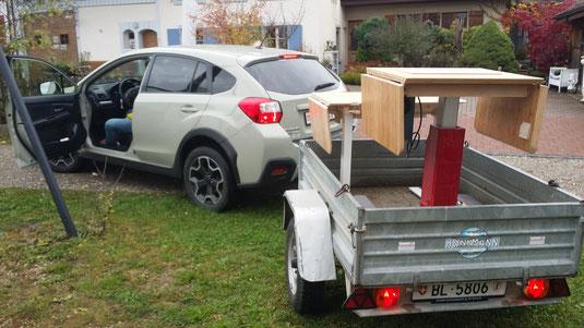 LINAK- und IKEA iTABLE44pmd vor dem Abtransport ins Schulhaus