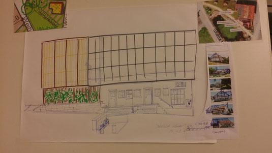 Ostansicht mit Solardachüberdachung Bereich Spielplatz (zum Vergrössern auf Bild klicken)