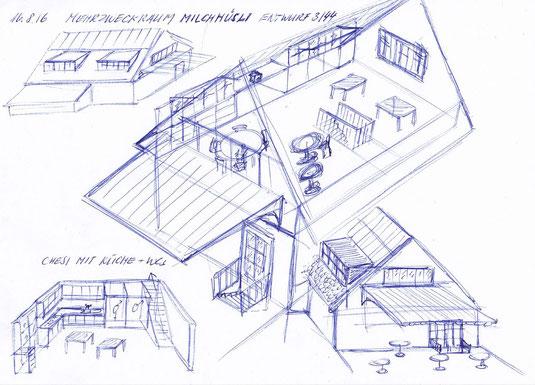 1. Vorschlag zum Innenausbau. Innentreppe zwischen Chesi und Mehrzweckraum